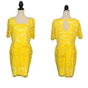 Antonio Melani Yellow Lace Over White Peplum Dress